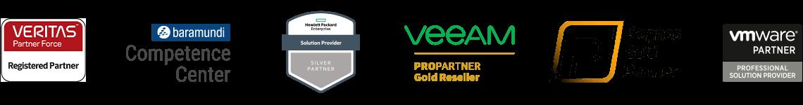 testLogos der itelio Partner: vertitas, baramundi, Hawlett Packard, veeam, Sophos, vmware