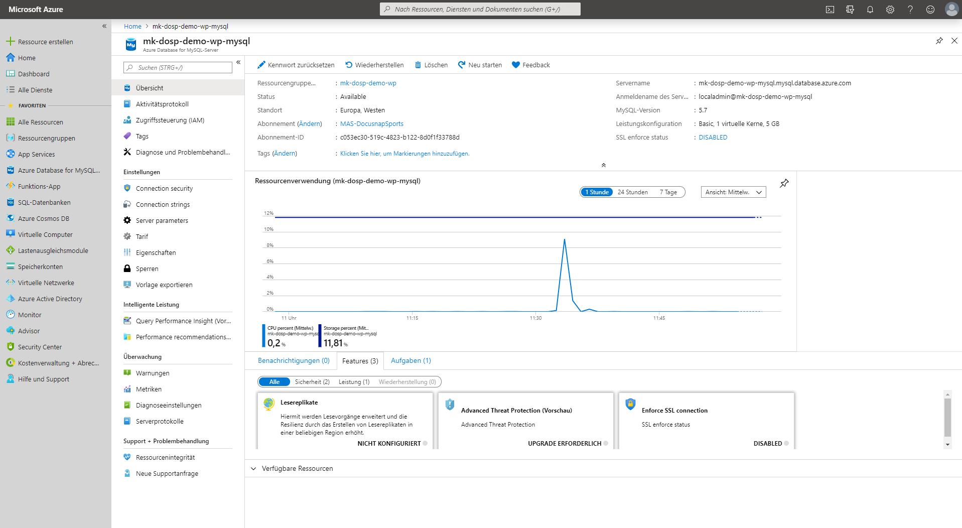Screenshot: Microsoft Azure MySQL Datenbank-Verwaltung